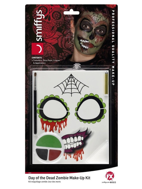 """39"""" Black and Red Day of the Dead Zombie Unisex Adult Halloween Make-Up Kit Costume Accessory - IMAGE 1"""