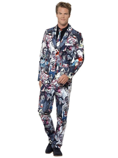 "38.5"" Gray and White Zombie Suit Men Adult Halloween Costume - Medium - IMAGE 1"