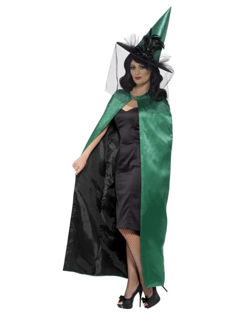 """49.5"""" Green and Black Reversible Witch Women Adult Halloween Cape Costume Accessory -  One Size - IMAGE 1"""
