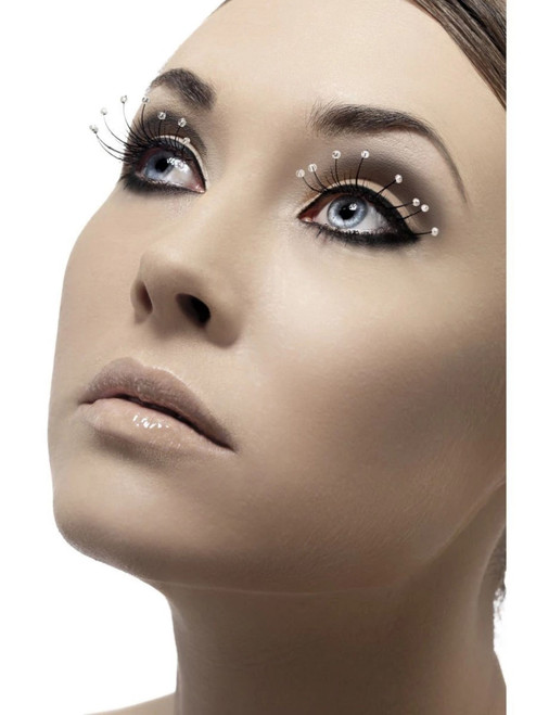 """11"""" Black and White Fever Women Adult Halloween Eyelashes with Droplets Costume Accessory - One Size - IMAGE 1"""