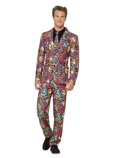 "38.5"" Pink and Black Neon Suit Men Adult Halloween Costume - Medium - IMAGE 1"