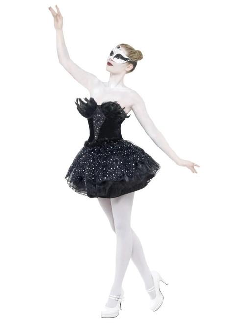 "49"" Black Gothic Swan Masquerade Women Adult Halloween Costume - Large - IMAGE 1"