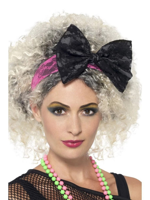 """17"""" Black and Pink 1980's Style Women Adult Halloween Lace Headband Costume Accessory - One Size - IMAGE 1"""