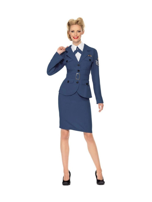 """49"""" Blue and White 1940's Style WW2 Air Force Captain Women Adult Halloween Costume - Medium - IMAGE 1"""