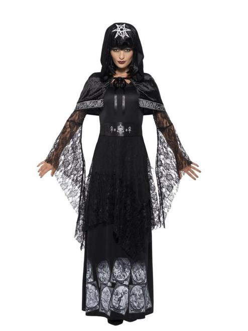 "49"" Black and White Mistress Black Magic Women Adult Halloween Costume - X1 - IMAGE 1"