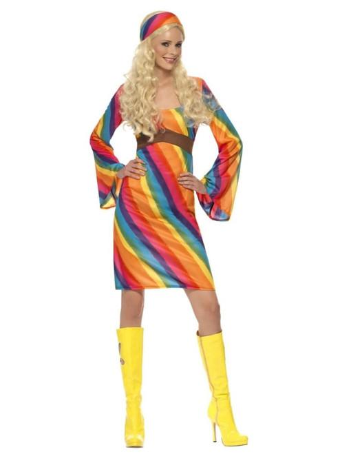 "49"" Vibrantly Colored 1970's Style Rainbow Hippie Women Adult Halloween Costume - Medium - IMAGE 1"