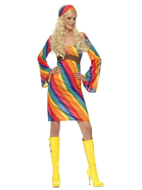 """49"""" Vibrantly Colored 1970's Style Rainbow Hippie Women Adult Halloween Costume - Large - IMAGE 1"""