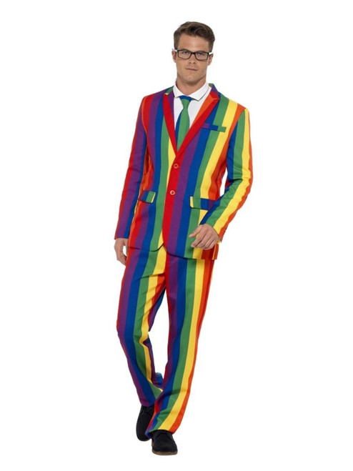 """38.5"""" Yellow and Blue Over the Rainbow Suit Men Adult Halloween Costume - Large - IMAGE 1"""