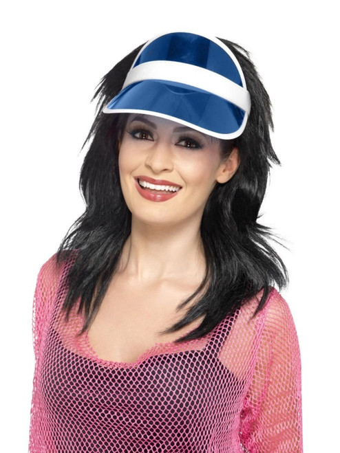 """25"""" Blue and White 1980's Style Unisex Adult Halloween Sun Visor Costume Accessory - One Size - IMAGE 1"""