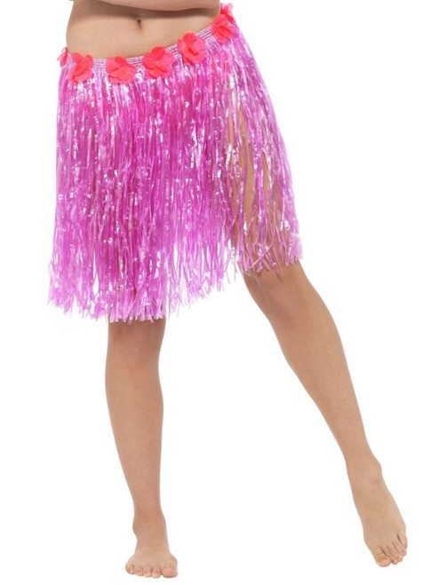 """45"""" Pink and Red Hawaiian Women Adult Halloween Skirt Costume Accessory - One Size - IMAGE 1"""