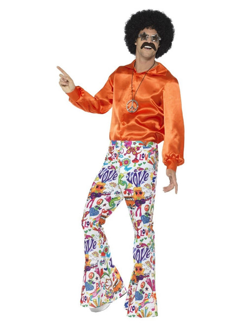 """40"""" Vibrantly Colored 1960's Style Groovy Flared Trousers Men Adult Halloween Costume - Large - IMAGE 1"""