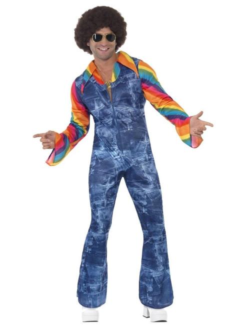 "49"" Blue and Orange 1970's Style Groovier Dancer Men Adult Halloween Costume - Large - IMAGE 1"