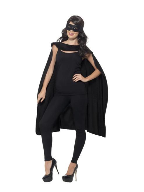 "26"" Black Unisex Adult Halloween Cape with Eyemask Costume Accessory - One Size - IMAGE 1"