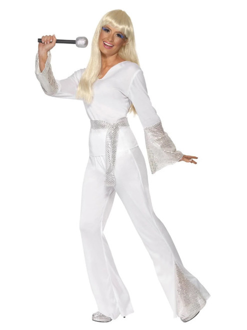 """42"""" White and Silver 1970's Style Disco Women Adult Halloween Costume - Small - IMAGE 1"""