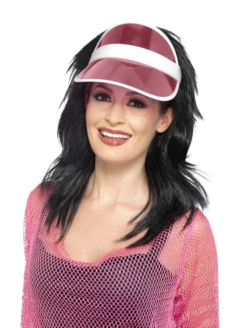 """22"""" Pink and White 1980's Style Women Adult Halloween Sun Visor Costume Accessory - One Size - IMAGE 1"""