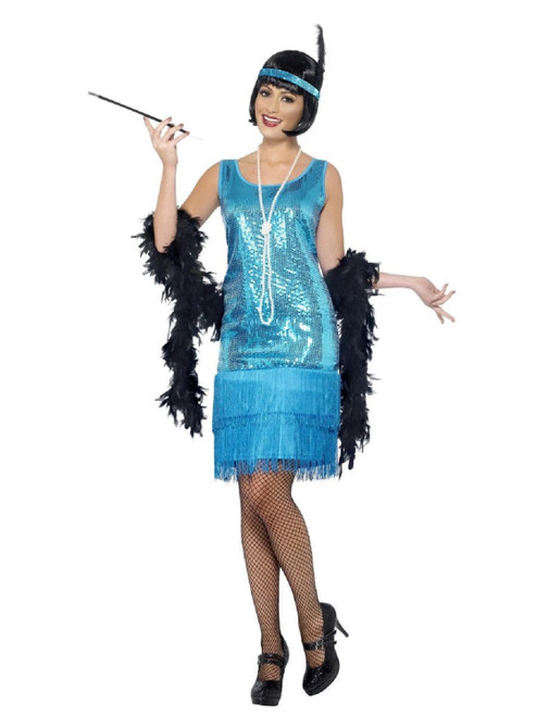 "49"" Teal Blue Flirty Flapper Women Adult Halloween Costume - Small - IMAGE 1"