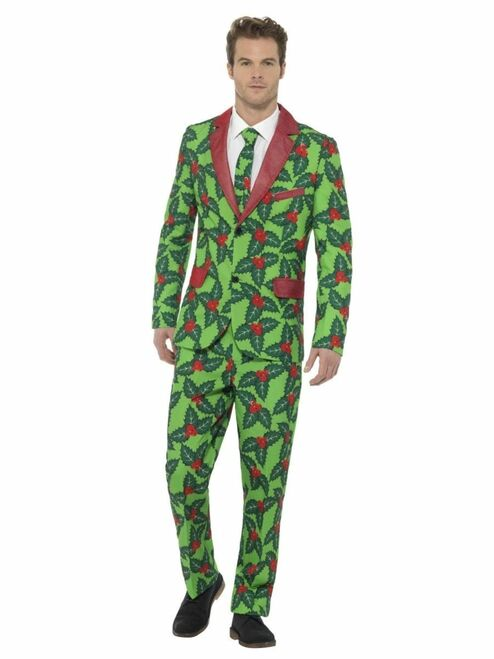 """44"""" Green and Red Holly Berry Suit Men Adult Christmas Costume - Medium - IMAGE 1"""