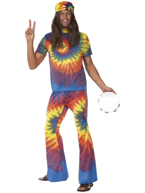 """49"""" Vibrantly Colored 1960's Style Tie Dye Men Adult Halloween Costume - Large - IMAGE 1"""