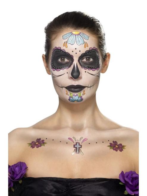"39"" Black and Blue Face Tattoo Unisex Adult Halloween Kit Costume Accessory - IMAGE 1"