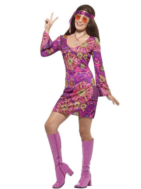 """40"""" Purple and Pink 1960's Style Hippie Chick Women Adult Halloween Costume - Large - IMAGE 1"""