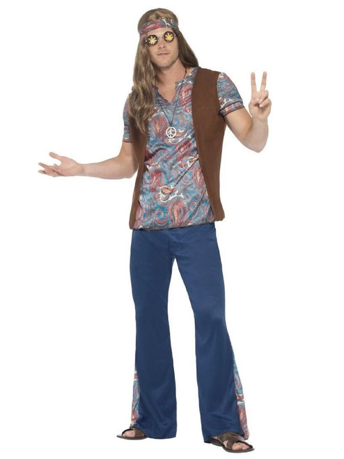 """49"""" Blue and Brown 1960's Style Orion The Hippie Men Adult Halloween Costume - XL - IMAGE 1"""