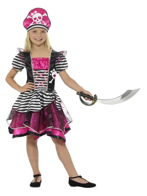 """40"""" Pink and Black Pirate Girl Child Halloween Costume - Large - IMAGE 1"""
