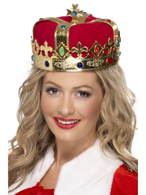 "19"" Red and Gold Queen's Crown Historical Women Halloween Costume Accessory - One Size Accessory - IMAGE 1"