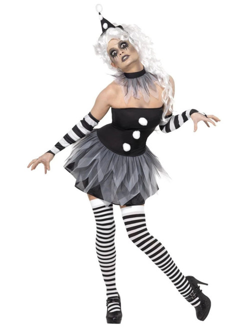 """49"""" Black and White Sinister Pierrot Women Adult Halloween Costume - Large - IMAGE 1"""
