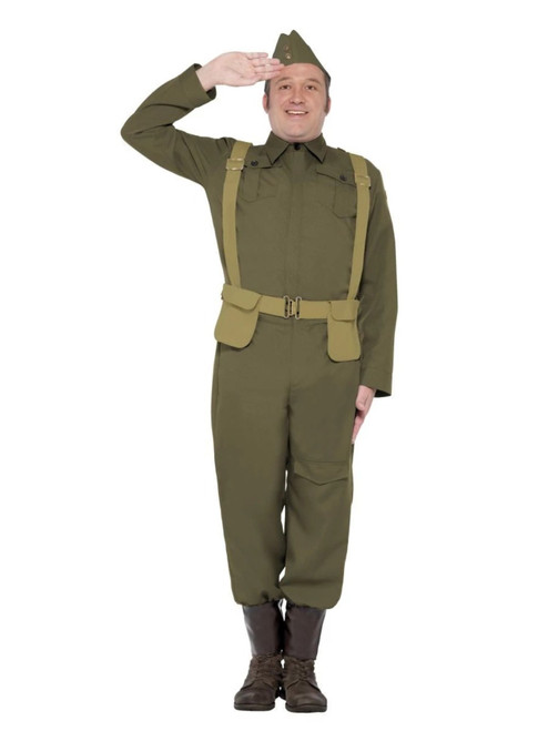 """49"""" Green 1940's Style WW2 Home Guard Private Men Halloween Costume - Extra Large - IMAGE 1"""