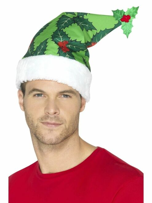 "20"" Green and White Holly Berry Santa Unisex Adult Christmas Hat Costume Accessory - One Size - IMAGE 1"