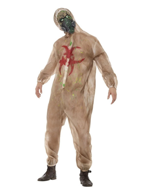 """41"""" Brown and Red Zombie Biohazard Men Adult Halloween Costume - Large - IMAGE 1"""
