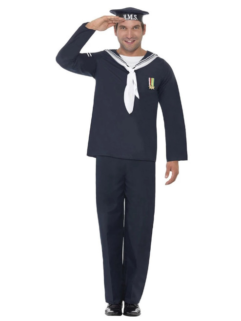 """49"""" Blue and White 1940's Style Wartime Naval Seaman Men Halloween Costume - Large - IMAGE 1"""