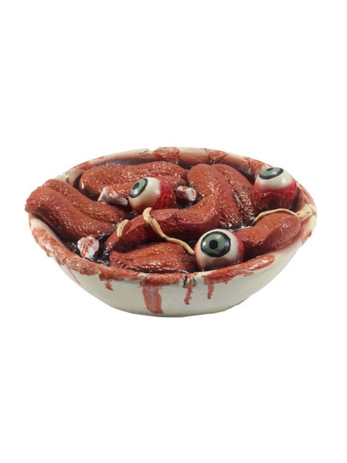 "19"" Red and White Gory Gourmet Tongue Bowl Prop Halloween Decoration - IMAGE 1"