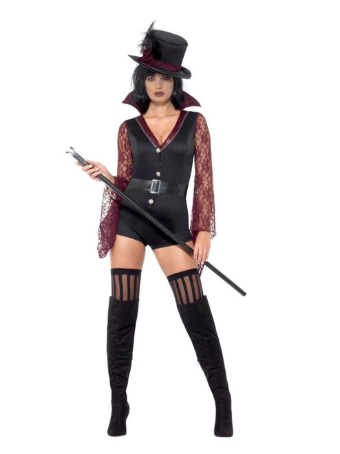 """29"""" Black and Red Fever Vampire Women Adult Halloween Costume - Small - IMAGE 1"""