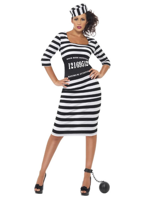"49"" Black and White Classy Convict Women Adult Halloween Costume - Medium - IMAGE 1"