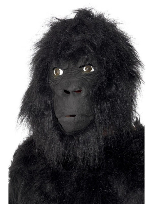 """35"""" Black Gorilla Overhead Unisex Adult Halloween Mask with Hair Costume Accessory - One Size - IMAGE 1"""
