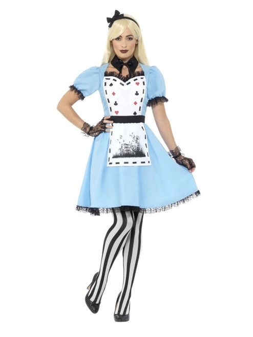 """47.5"""" Blue and Black Deluxe Tea Party Women Adult Halloween Costume - XS - IMAGE 1"""