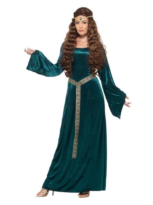 "49"" Green Medieval Maid Women Adult Halloween Costume - X2 - IMAGE 1"