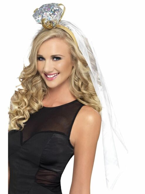 """27"""" White and Gold Women Adult Halloween Ring Headband Costume Accessory - One Size - IMAGE 1"""