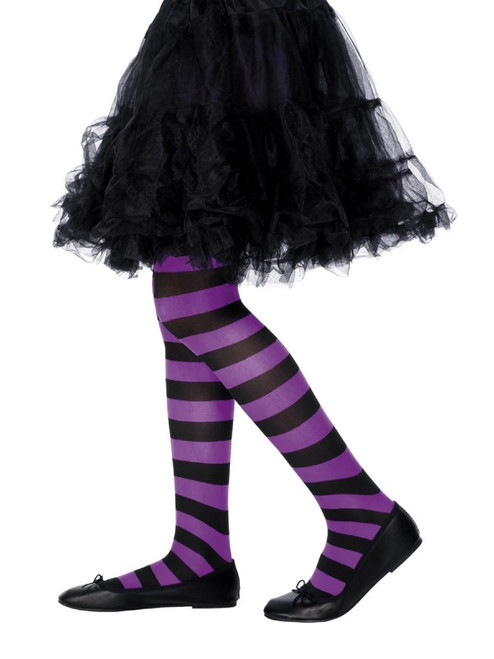 """20"""" Purple and Black Striped Girl Child Halloween Tight Costume Accessory - Large - IMAGE 1"""