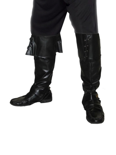 """42"""" Black Pirate Deluxe Men Adult Halloween Boot Covers Costume Accessory - One Size - IMAGE 1"""