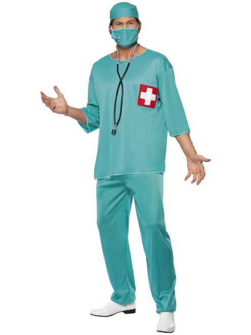 "40"" Green Surgeon Men Adult Halloween Costume - Large - IMAGE 1"