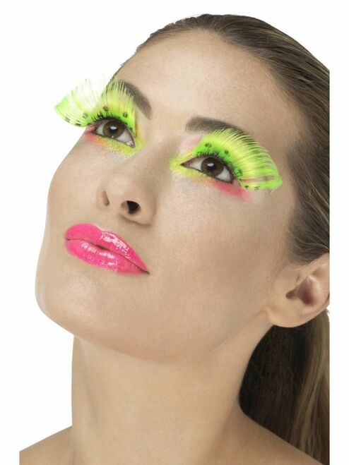 """11"""" Neon Green 1980's Style Polka Dot Women Adult Halloween Eyelashes Costume Accessory - One Size - IMAGE 1"""