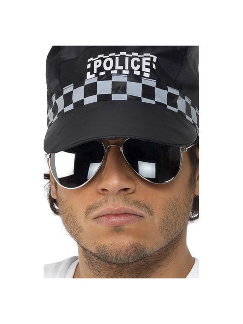 """19"""" Silver Mirror Aviator Unisex Adult Halloween Specs Costume Accessory - One Size - IMAGE 1"""