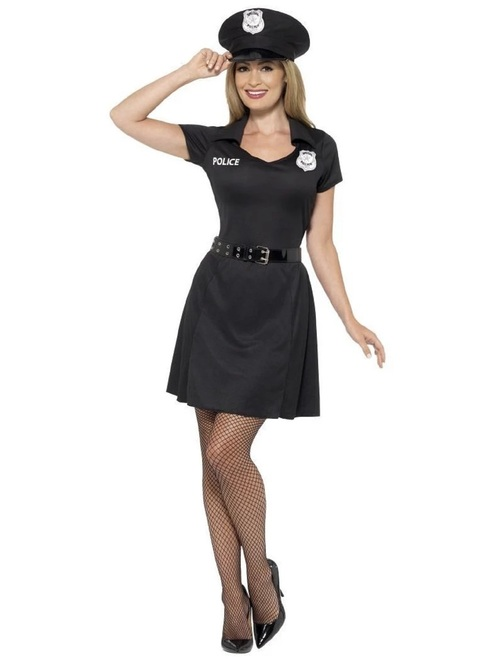 """49"""" Black Special Constable Women Adult Halloween Costume - Small - IMAGE 1"""