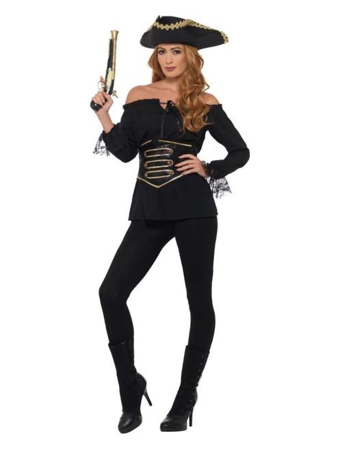"49"" Black and Gold Pirate Women Adult Halloween Costume - Medium - IMAGE 1"