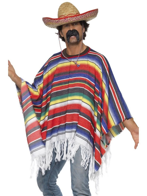 """49"""" Yellow and Red Striped Poncho Men Adult Halloween Costume - One Size - IMAGE 1"""