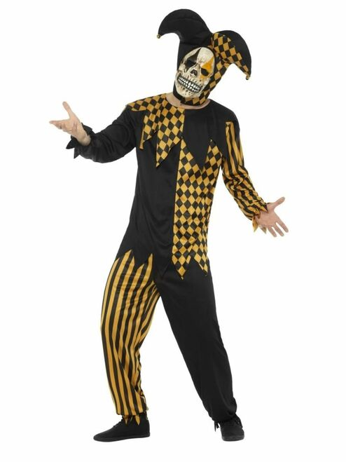 "42.5"" Black and Gold Evil Court Jester Men Adult Halloween Costume - XL - IMAGE 1"
