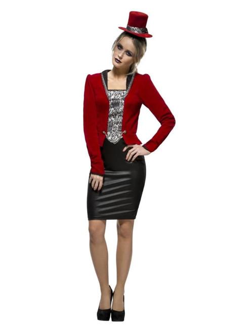 "49"" Red and Black Fever Vampiress Women Adult Halloween Costume - Medium - IMAGE 1"