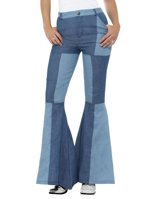 """42"""" Denim Blue 1970's Style Patchwork Flared Trousers Women Adult Halloween Costume - Small - IMAGE 1"""